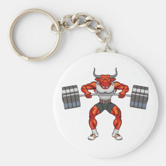 weight lifting bull 2 basic round button key ring
