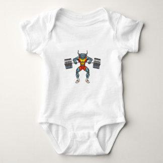 weight lifting bull 3 baby bodysuit