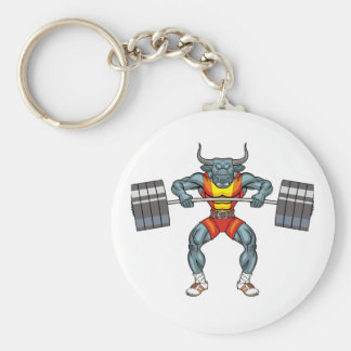weight lifting bull 3 basic round button key ring