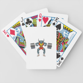 weight lifting bull 3 bicycle playing cards