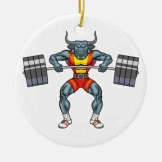 weight lifting bull 3 ceramic ornament