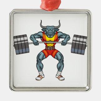 weight lifting bull 3 metal ornament