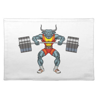 weight lifting bull 3 placemat