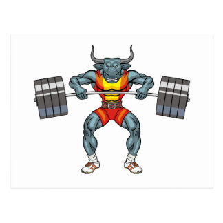weight lifting bull 3 postcard