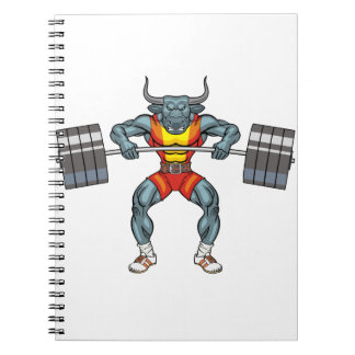 weight lifting bull 3 spiral note books