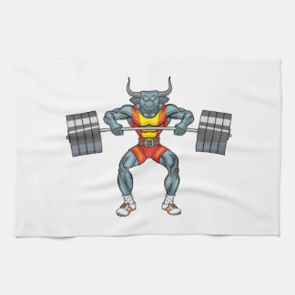 weight lifting bull 3 tea towel