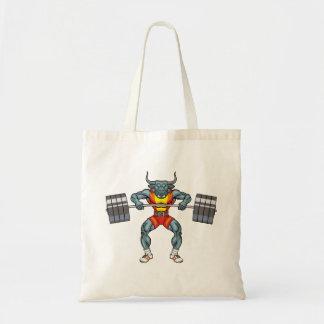 weight lifting bull 3 tote bag