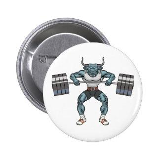 weight lifting bull 6 cm round badge
