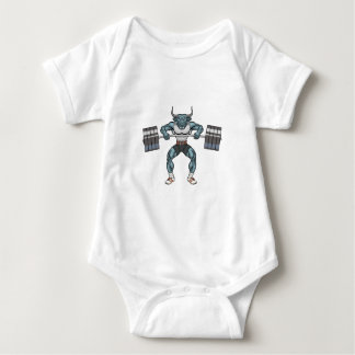 weight lifting bull baby bodysuit