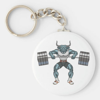 weight lifting bull basic round button key ring