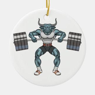 weight lifting bull ceramic ornament