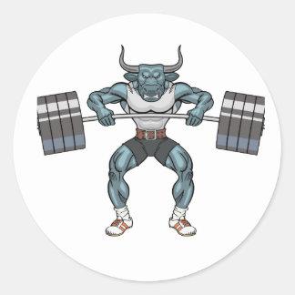 weight lifting bull classic round sticker