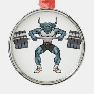 weight lifting bull metal ornament