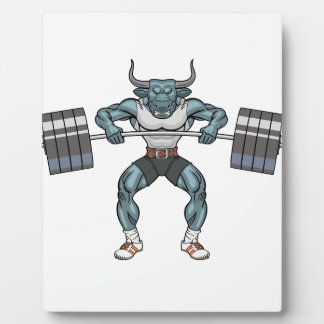 weight lifting bull plaque