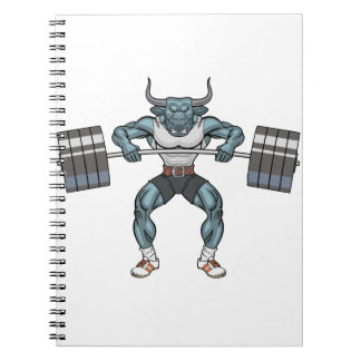 weight lifting bull spiral note book
