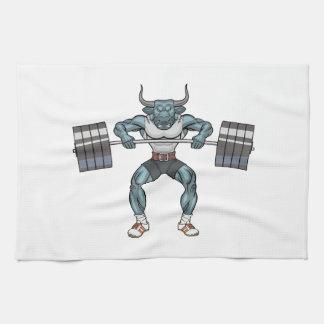 weight lifting bull tea towel