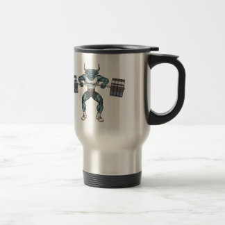 weight lifting bull travel mug