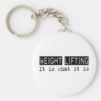 Weight Lifting It Is Basic Round Button Key Ring