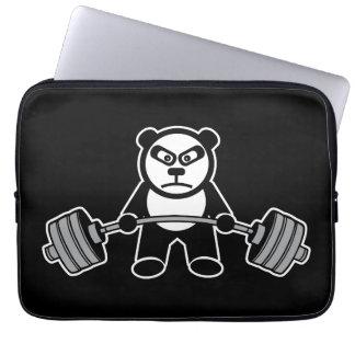 Weight Lifting Panda Bear Anime Cartoon - Workout Laptop Sleeve