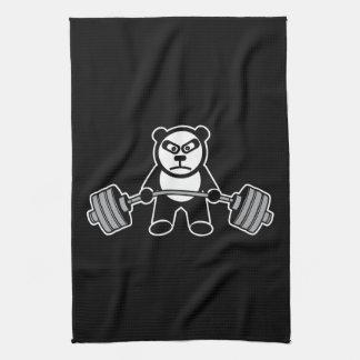Weight Lifting Panda Bear Anime Cartoon - Workout Tea Towel