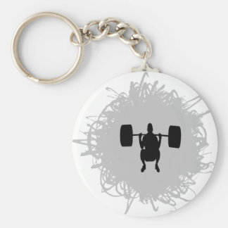 Weight Lifting Scribble Style Basic Round Button Key Ring