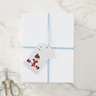 Weight Lifting Snowman Gift Tags