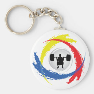 Weight Lifting Tricolor Emblem Basic Round Button Key Ring
