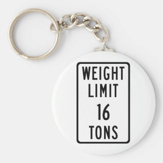 Weight Limit 16 Tons Sign Key Chain