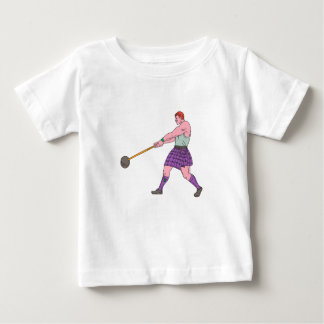 Weight Throw Highland Games Athlete Drawing Baby T-Shirt