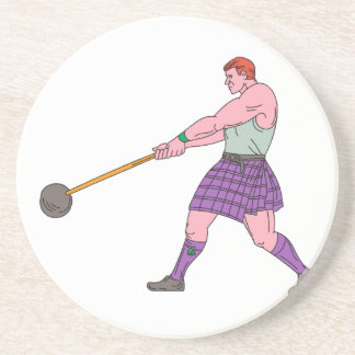 Weight Throw Highland Games Athlete Drawing Coaster