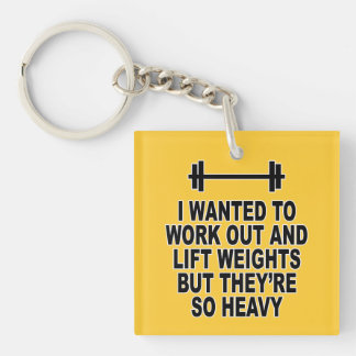 Weight Training Single-Sided Square Acrylic Key Ring