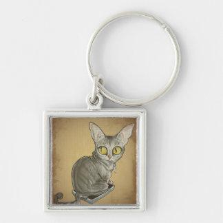 Weight Watcher Cat Caricature.jpg Key Chain