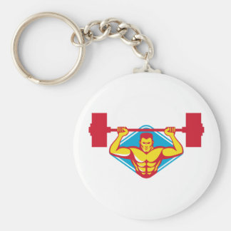 weightlifter body builder lifting weights  retro basic round button key ring