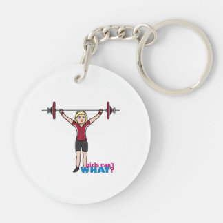 Weightlifter Girl - Light/Blonde Double-Sided Round Acrylic Key Ring