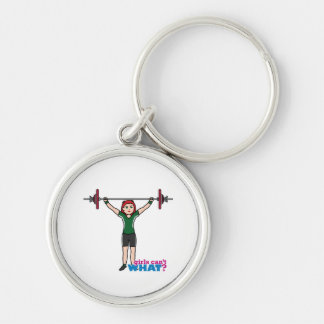 Weightlifter Girl Light/Red Key Chains