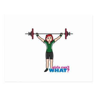 Weightlifter Girl Light/Red Postcard