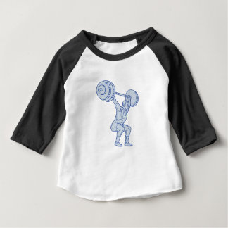 Weightlifter Lifting Barbell Mono Line Baby T-Shirt