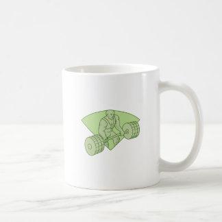 Weightlifter Lifting Barbell Mono Line Coffee Mug