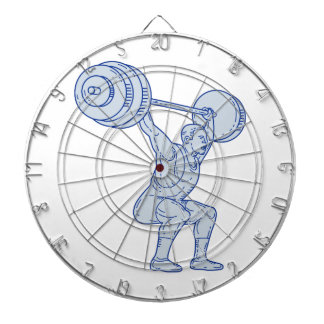 Weightlifter Lifting Barbell Mono Line Dartboard