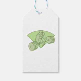 Weightlifter Lifting Barbell Mono Line Gift Tags