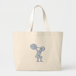 Weightlifter Lifting Barbell Mono Line Large Tote Bag