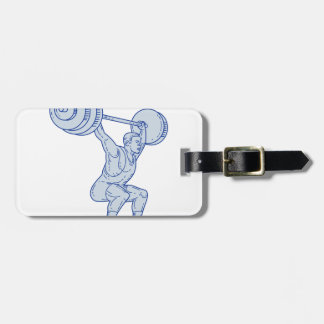 Weightlifter Lifting Barbell Mono Line Luggage Tag