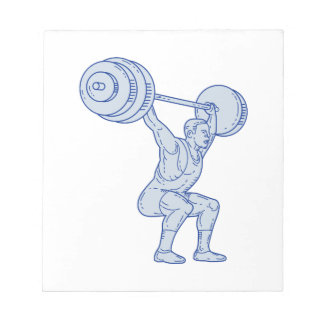 Weightlifter Lifting Barbell Mono Line Notepad
