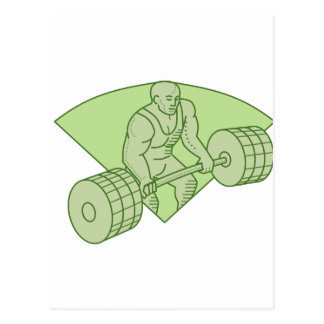 Weightlifter Lifting Barbell Mono Line Postcard