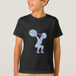 Weightlifter Lifting Barbell Mono Line T-Shirt