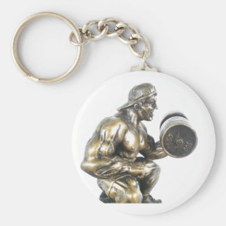 Weightlifting Basic Round Button Key Ring