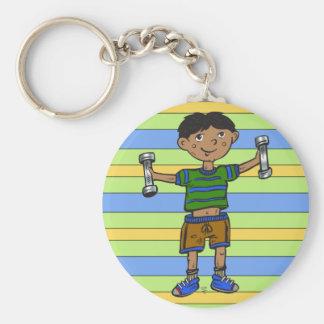Weightlifting Boy Basic Round Button Key Ring