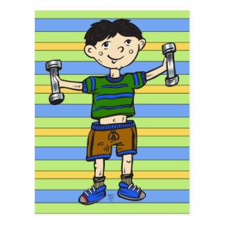 Weightlifting Boy Postcard