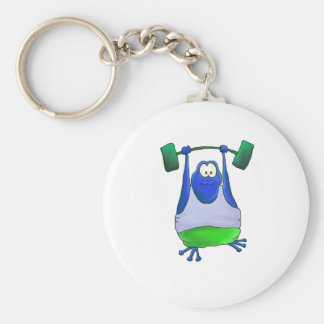 Weightlifting Frog Basic Round Button Key Ring