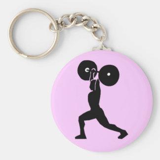 Weightlifting Gym Basic Round Button Key Ring